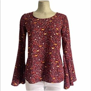 love, Fire | Anthro | Burgundy Bell Sleeve Blouse
